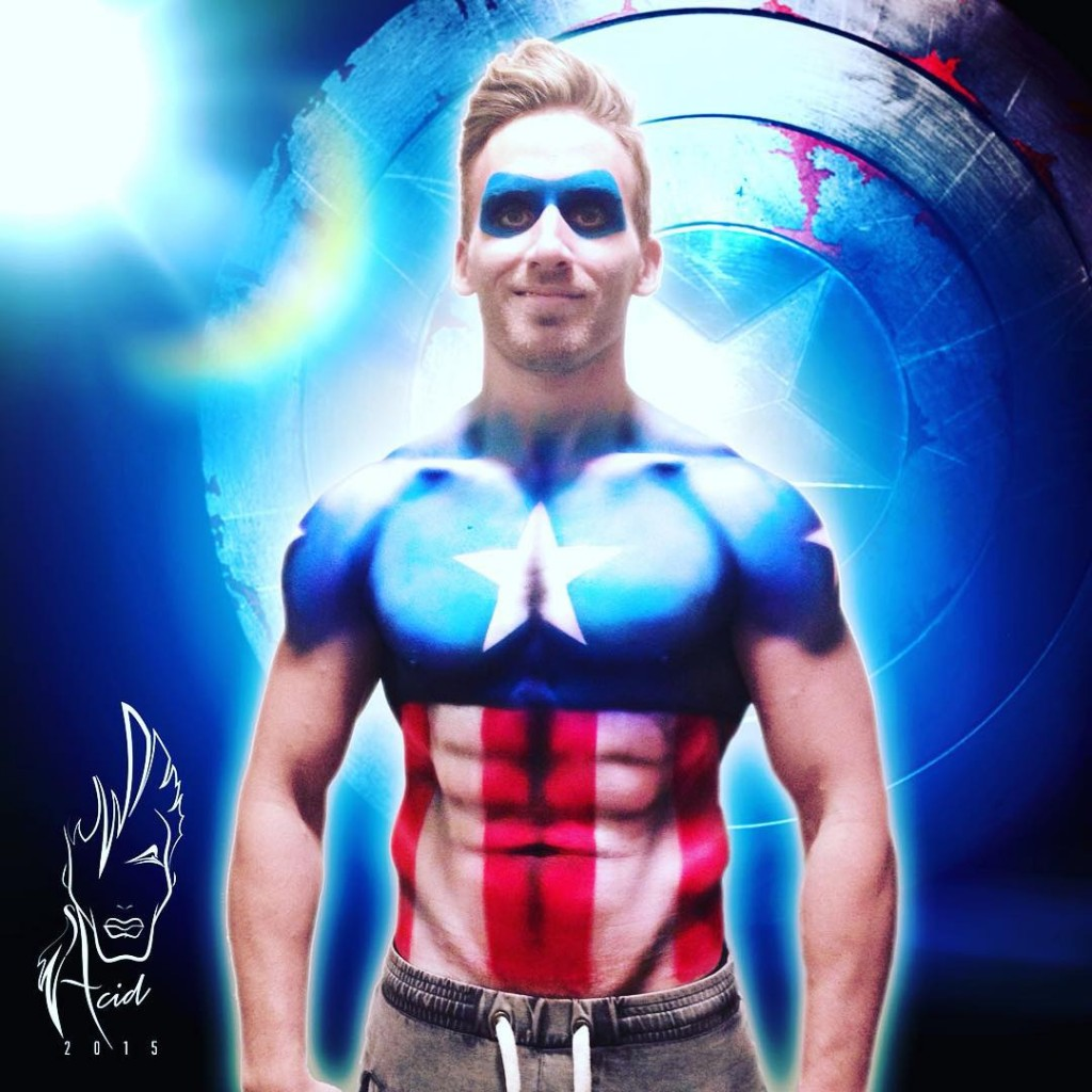 sleavy519 as Captain America! Body ody paint by yours trulyhellip